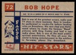 1957 Topps Hit Stars #72  Bob Hope  Back Thumbnail