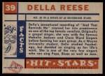 1957 Topps Hit Stars #39  Della Reese   Back Thumbnail