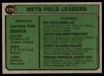 1974 Topps #179   -  Yogi Berra / Roy McMillan / Joe Pignatano / Rube Walker / Eddie Yost Mets Leaders   Back Thumbnail