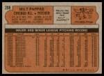 1972 Topps #208  Milt Pappas  Back Thumbnail