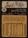 1973 Topps #163  Vic Davalillo  Back Thumbnail