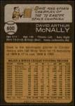 1973 Topps #600  Dave McNally  Back Thumbnail
