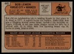 1972 Topps #449  Bob Lemon  Back Thumbnail