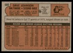 1972 Topps #680  Davey Johnson  Back Thumbnail