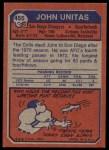 1973 Topps #455  Johnny Unitas  Back Thumbnail