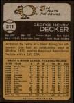 1973 Topps #311  Joe Decker  Back Thumbnail