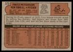 1972 Topps #573  Fritz Peterson  Back Thumbnail