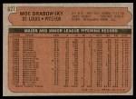 1972 Topps #627  Moe Drabowsky  Back Thumbnail