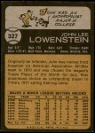 1973 Topps #327  John Lowenstein  Back Thumbnail