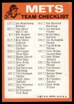 1973 Topps Blue Checklist   Mets Back Thumbnail