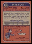 1973 Topps #390  Jake Scott  Back Thumbnail