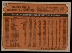 1972 Topps #437  Maury Wills  Back Thumbnail