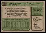 1974 Topps #288  Gorman Thomas  Back Thumbnail
