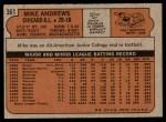 1972 Topps #361  Mike Andrews  Back Thumbnail