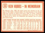 1964 Topps #550   -  Ken Hubbs In Memoriam Back Thumbnail