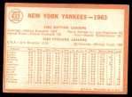 1964 Topps #433   Yankees Team Back Thumbnail