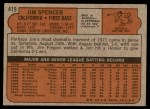 1972 Topps #419  Jim Spencer  Back Thumbnail
