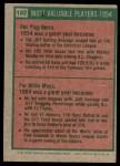 1975 Topps #192   -  Yogi Berra / Willie Mays 1954 MVPs Back Thumbnail