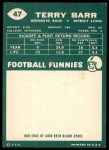 1960 Topps #47  Terry Barr  Back Thumbnail