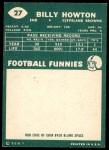 1960 Topps #27  Bill Howton  Back Thumbnail