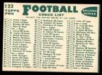 1960 Topps #122   49ers Team Checklist Back Thumbnail