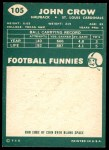 1960 Topps #105  John David Crow  Back Thumbnail
