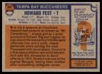 1976 Topps #397  Howard Fest  Back Thumbnail