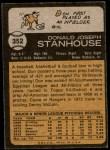 1973 Topps #352  Don Stanhouse  Back Thumbnail