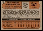 1972 Topps #272  Mickey Rivers  Back Thumbnail