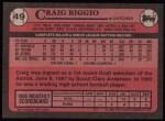 1989 Topps #49  Craig Biggio  Back Thumbnail