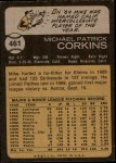 1973 Topps #461  Mike Corkins  Back Thumbnail