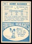 1968 Topps #191  Kermit Alexander  Back Thumbnail