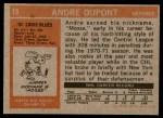 1972 Topps #19  Andre Dupont  Back Thumbnail