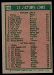 1975 Topps #310   -  Catfish Hunter / Ferguson Fergie Jenkins / Andy Messersmith / Phil Niekro Victory Leaders Back Thumbnail