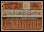 1972 Topps #635  Don Money  Back Thumbnail
