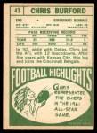 1968 Topps #43  Chris Burford  Back Thumbnail
