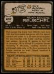 1973 Topps #482  Rick Reuschel  Back Thumbnail