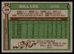 1976 Topps #396  Bill Lee  Back Thumbnail