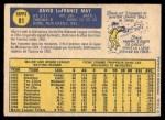 1970 Topps #81  Dave May  Back Thumbnail