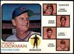 1973 Topps #81 NAT  -  Whitey Lockman / Hank Aguirre / Ernie Banks / Larry Jansen / Pete Resier Cubs Leaders Front Thumbnail
