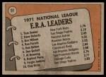 1972 Topps #91   -  Tom Seaver / Dave Roberts / Don Wilson NL ERA Leaders   Back Thumbnail