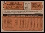 1972 Topps #179  Dock Ellis  Back Thumbnail