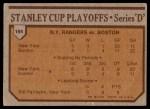 1973 Topps #194   Rangers 4 Bruins 1  Back Thumbnail