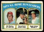 1972 Topps #90   -  Reggie Jackson / Norm Cash / Bill Melton AL HR Leaders   Front Thumbnail
