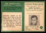1966 Philadelphia #33  Joe Fortunato  Back Thumbnail
