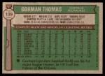 1976 Topps #139  Gorman Thomas  Back Thumbnail