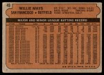 1972 Topps #49  Willie Mays  Back Thumbnail