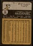 1973 Topps #46  Lindy McDaniel  Back Thumbnail