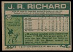 1977 Topps #260  J.R. Richard  Back Thumbnail