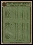 1974 Topps #478   -  Jerry Grote / Bert Campaneris 1973 World Series - Game #7 Back Thumbnail
